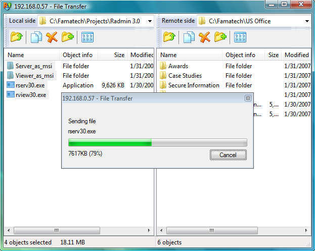 File Transfer - Radmin 3 Remote Support